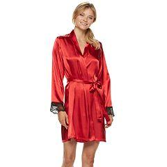 Women's Apt. 9® Satin Lace Wrap Robe