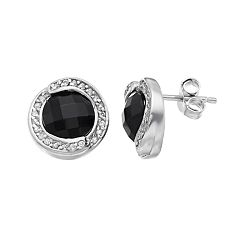 Sterling Silver Onyx & White Topaz Halo Stud Earrings