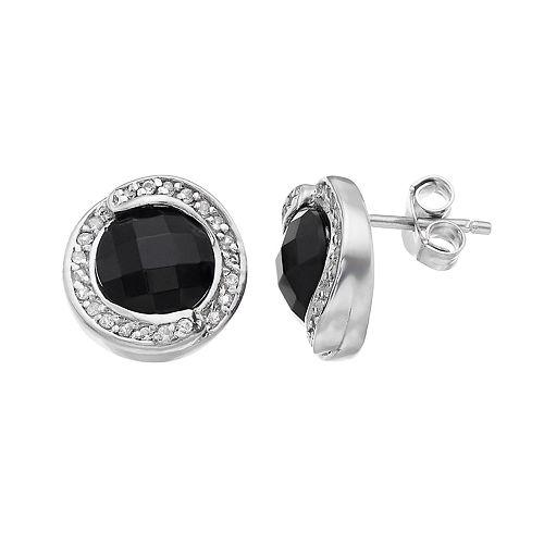 Sterling Silver Onyx & White Topaz Halo Stud Earrings