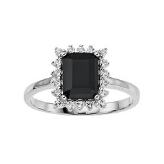 Sterling Silver Onyx & White Topaz Frame Ring