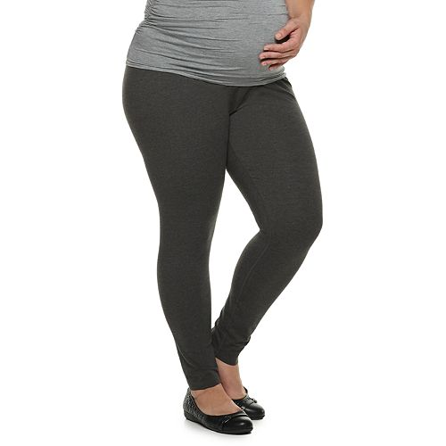 Plus Size Maternity a:glow Full Belly Panel Solid Leggings