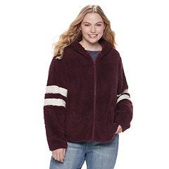 Juniors' Plus Size SO® Varsity Sherpa Hooded Jacket