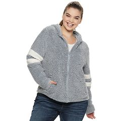 Juniors' Plus Size SO® Varsity Sherpa Hooded Jacket