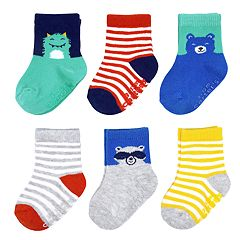 Baby Boy Carter's 6-pack Striped Character Crew Socks