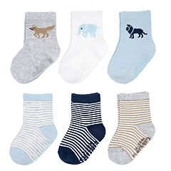 Baby Boy Carter's 6-pack Striped & Animal Crew Socks
