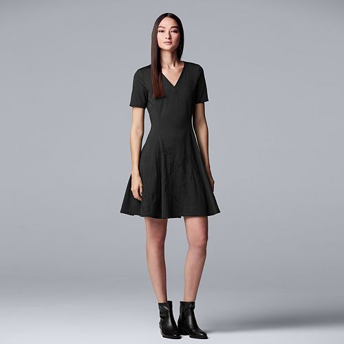 Women's Simply Vera Vera Wang Embroidered Fit & Flare Dress