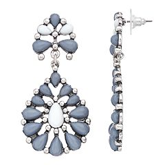 Nickel Free Cabochon Openwork Teardrop Earrings
