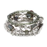 Silver Tone Gray Bead Stretch Bracelet Set