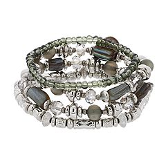 Silver Tone Gray Bead Stretch Bracelet Set