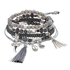Silver Tone Gray Bead Stretch & Adjustable Bracelet Set