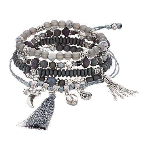 Silver Tone Gray Bead Stretch & Adjustable Bracelet Set