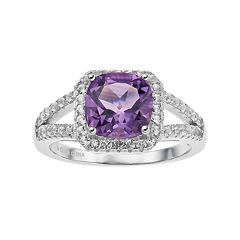 Sterling Silver Amethyst & White Topaz Cushion Halo Ring