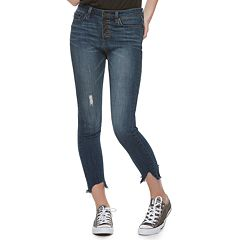 Juniors' Indigo Rein Distressed Skinny Ankle Jeans
