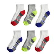 Boys 4-20 Tek Gear® Performance Cushioned 6-Pack Quarter Crew Socks