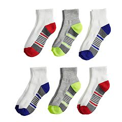 Boys 4-20 Tek Gear® Performance 6-Pack Quarter Crew Socks