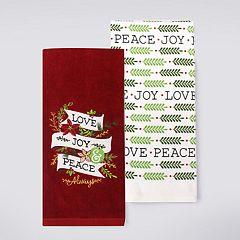 St. Nicholas Square® Love & Peace Kitchen Towel 2-pack