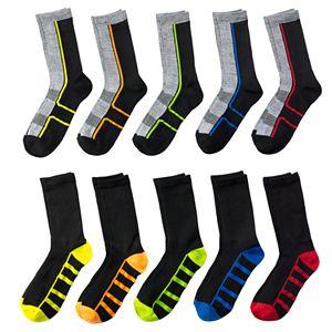 Boys 4-20 Tek Gear® Lightweight 10-Pack Performance Crew Socks
