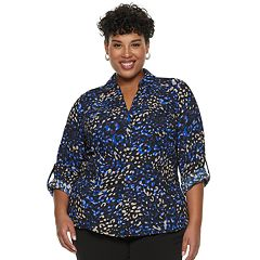 Plus Size Dana Buchman Roll-Tab Button-Down Shirt