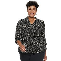 Plus Size Dana Buchman Roll-Tab Button-Down Shirt