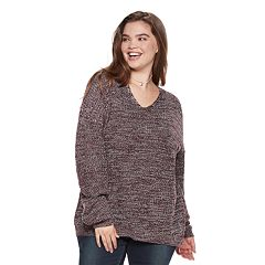 Juniors' Plus Size SO® Lace-Up Back Sweater