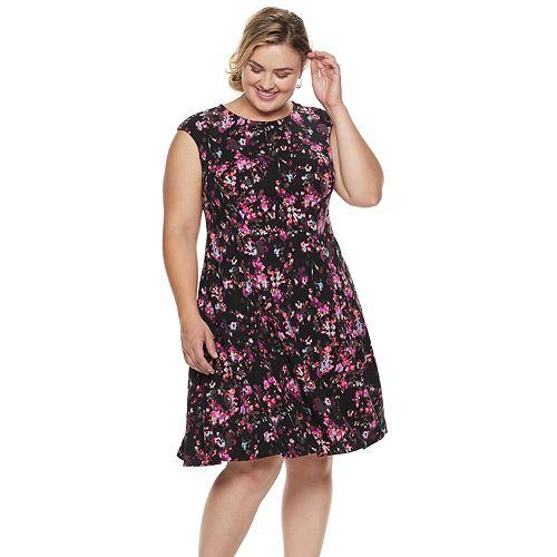 Plus Size Suite 7 Floral Fit & Flare Dress