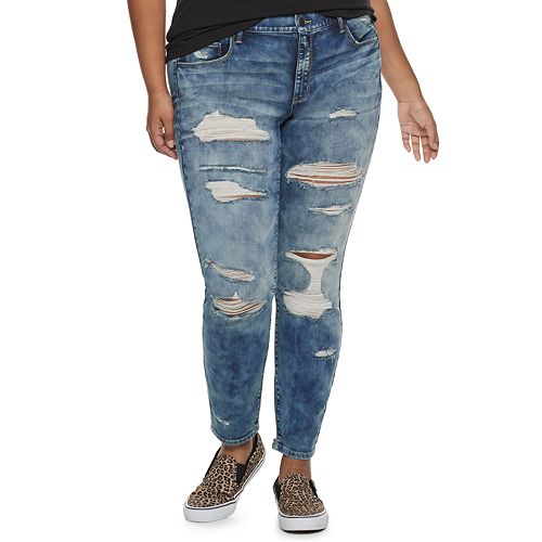 Juniors' Plus Size Mudd® Destructed Low-Rise Skinny Jeans