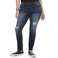 Plus Size Mudd® Destructed Low-Rise Skinny Jeans