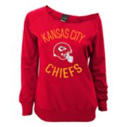 Juniors' Kansas City Chiefs  Slouch Boat Neck Top