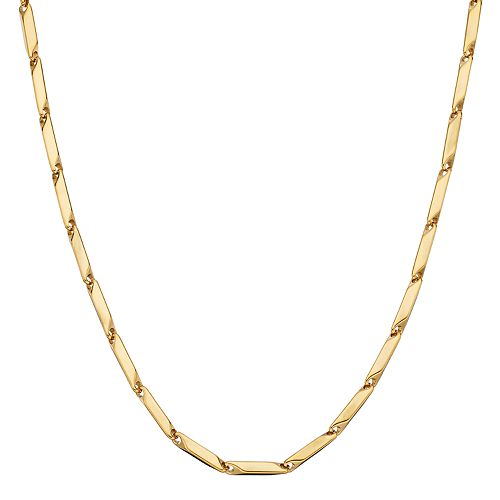 LYNX Men's Gold Tone Stainless Steel Bar Link Chain Necklace - 24 in.