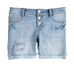 Girls 7-16 Mudd® Whiskered Midi Jean Shorts