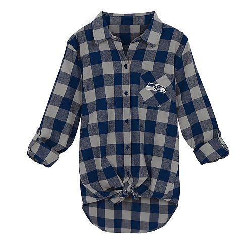 Juniors' Seattle Seahawks Spirit Week Knot-Front Plaid Flannel Shirt