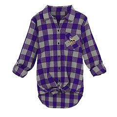 Juniors' Minnesota Vikings Spirit Week Knot-Front Plaid Flannel Shirt