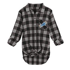 Juniors' Detroit Lions Spirit Week Knot-Front Plaid Flannel Shirt