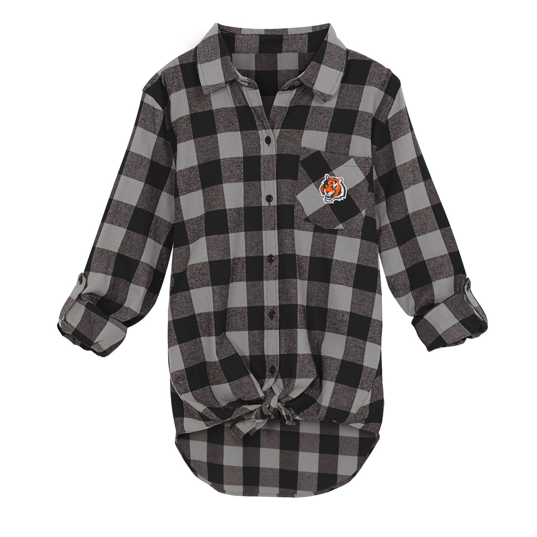 Spirit Week Knot-Front Plaid Flannel Shirt