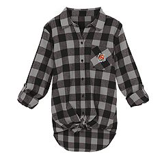 Juniors' Cincinnati Bengals Spirit Week Knot-Front Plaid Flannel Shirt