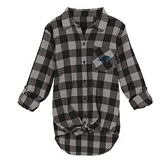 Juniors' Carolina Panthers Spirit Week Knot-Front Plaid Flannel Shirt