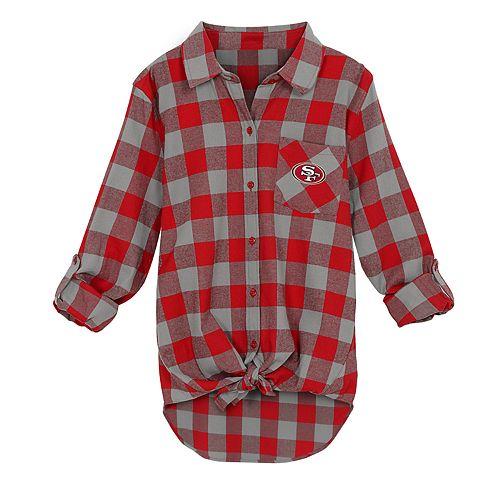 Juniors' San Francisco 49ers Spirit Week Knot-Front Plaid Flannel Shirt