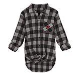 Juniors' Arizona Cardinals Spirit Week Knot-Front Plaid Flannel Shirt