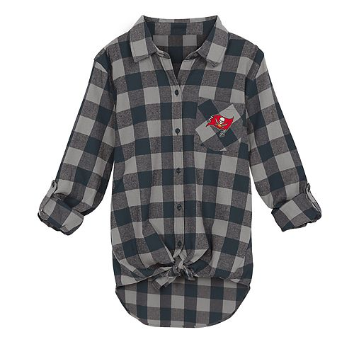 Juniors' Tampa Bay Buccaneers Spirit Week Knot-Front Plaid Flannel Shirt