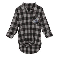 Juniors' Indianapolis Colts Spirit Week Knot-Front Plaid Flannel Shirt