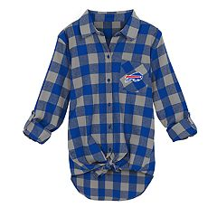 Juniors' Buffalo Bills Spirit Week Knot-Front Plaid Flannel Shirt