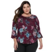 Plus Size Apt. 9® Print Bell Sleeve Top
