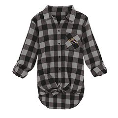 Juniors' Baltimore Ravens Spirit Week Knot-Front Plaid Flannel Shirt