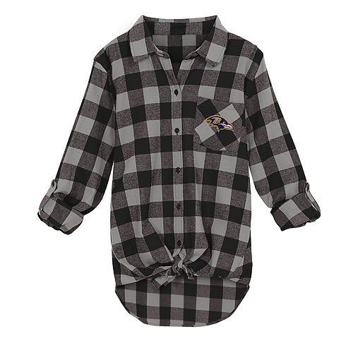 Juniors' Baltimore Ravens Spirit Week Knot-Front Plaid Flannel Shirt