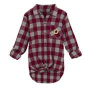 Juniors' Washington Redskins Spirit Week Knot-Front Plaid Flannel Shirt