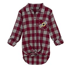 Juniors' Washington Redskins Spirit Week Knot-Front Plaid Flannel Shirt