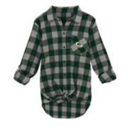 Juniors' Green Bay Packers Spirit Week Knot-Front Plaid Flannel Shirt