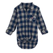 Juniors' New England Patriots Spirit Week Knot-Front Plaid Flannel Shirt
