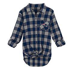 Juniors' New EnglandPatriots Spirit Week Knot-Front Plaid Flannel Shirt