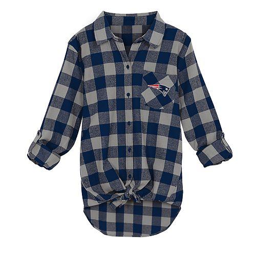 ff397264 Juniors' New England Patriots Spirit Week Knot-Front Plaid Flannel Shirt